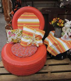 Put pillows in old tires for chairs/ foot rests. Chairs for room? I think... YES!!! :-)