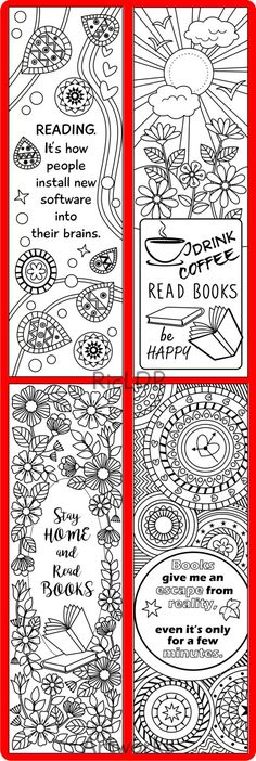 Printable 8 Coloring Bookmarks, Four (4) with quotes and four (4) abstract…