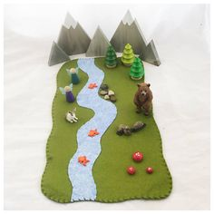 Babbling Brook Playscape Green Play Mat  wool felt pretend
