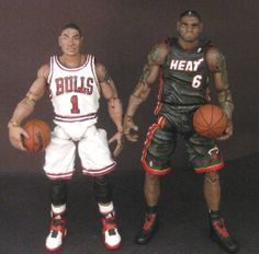 """6"""" Multiple Pose-able Action Figures Of Derrick Rose And LeBron James. These Could Be Posed In Many Basketball Shooting And Defensive Positions. There Are More Pictures On My Website: http://www.rickylewis.net/home/2012/8/12/derrick-rose-custom-6-articulated-poseable-action-figure.html"""
