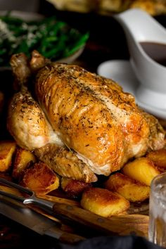 There's minimal prep needed for this easy roast chicken. No trivets, no butter under the skin, just a simple, tasty and juicy roast chicken with a big jug of delicious gravy. #roastchicken #chickenadngravy #roastdinner #easyroastchicken #howtoroastachicken Roast Chicken Dinner, Roast Chicken And Gravy, Easy Roast Chicken, Oven Chicken, Roast Dinner, Chicken Feed, Fried Chicken Recipes, Sprouts With Bacon, Creamy Mashed Potatoes