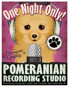 Pomeranian Studio Original Art Print - Custom Dog Breed Print - 11x14 - Personalize with Your Dog's Name