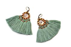Pendientes pendientes de flecos verde Jade pendientes por gudbling