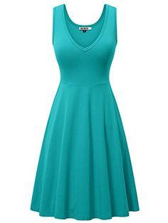 HUHOT Womens Sleeveless V Neck Dress with Pocket Summer Beach Midi Flared Tank Dress - Turquoise Small Black Tank Dress, Green Dress, Cap Dress, V Neck Dress, Plus Size Maxi Dresses, Short Sleeve Dresses, Midi Dresses, Very Short Dress, Cosplay Dress