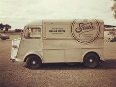 Static Van/food truck / logo / signage by Salih Kucukaga - I love the clean and simple design Citroen Type H, Citroen H Van, Coffee Packaging, Coffee Branding, Logo Branding, Vehicle Branding, Vehicle Signage, Mobile Cafe, Food Vans