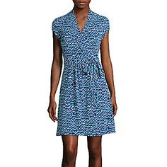 jcp | Liz Claiborne® Short-Sleeve Print Wrap Dress