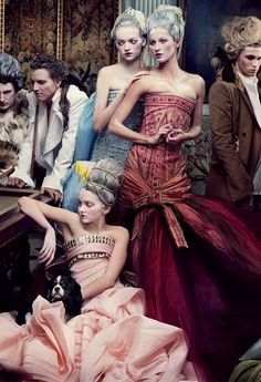 christian dior haute couture s/s 2004, gemma ward, gisele bundchen and lily cole by annie leibovitz for vogue us may 2004