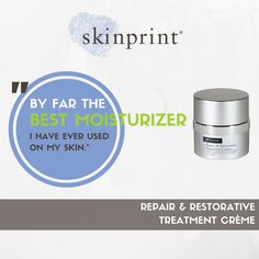 """""""My skin looks radiant and plumped."""" """"Best product I have used for my face."""" """"Absorbs quickly and leaves skin feeling fresh and clean."""" Just a few of the things our customers have to say about Skinprint's REPAIR & RESTORATIVE TREATMENT CRÈME. Want to hear more? Head over to our website! #skinprint #ravereviews #itsthebest"""