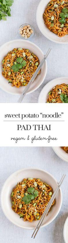 "Sweet Potato Noodle Pad Thai: A vegan and gluten-free pad thai recipe made with sweet potato ""noodles""."