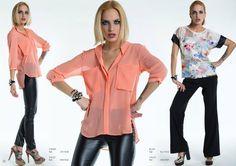 Modelo esquerda e centro : Camisa ( ref.: OPV1548 ) Calças ( ref.: MNV1542 ) Modelo direita : Blusa ( ref.:BLV1503 ) Calças ( ref.: MNV1557 )