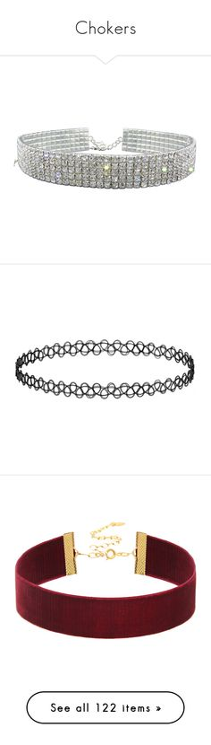 """""""Chokers"""" by selia-101 ❤ liked on Polyvore featuring jewelry, necklaces, accessories, choker, colares, crystal choker, stretch choker necklace, choker necklace, rhinestone choker and stretchy choker necklace"""