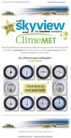 Skyview eNews June 2015: Vote for Your favourite ClimeMET Design … And Your Could Wind a Brand New Weather Dial