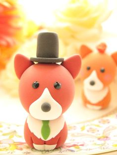 LOVE ANGELS Wedding Cake Topper-  love Pembroke Welsh Corgis with base.  via Etsy.