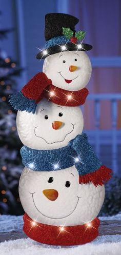Led Stacked Snowmen Garden Stake