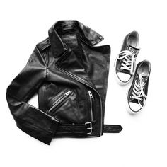 All Saints Leather Jacket, converse. Flat lay - OVRSLO