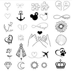 Choose your favorite idea 🙌🏽🤩😍 tag someone that would love 💕 Girly Tattoos, Mini Tattoos, Small Bff Tattoos, Tiny Tattoos For Girls, Little Tattoos, Cute Tattoos, Body Art Tattoos, Kritzelei Tattoo, Doodle Tattoo