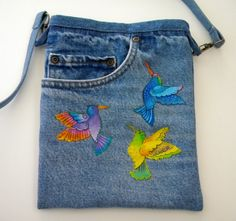 Original design embroidered and appliquéd Laurel Burch front pocket recycled denim jeans OOAK by SarahYsCottage