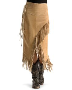 Western Dresses, Western Outfits, Western Wear, Cowgirl Outfits, Women's Western Clothing, Suede Fringe Skirt, Leather Fringe, Suede Leather, Leather Cuffs