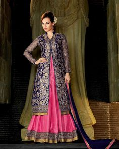 Pink & Blue smart Embroidered Silk Designer Salwar Suits for women(Semi Stitched) Fabric: Silk Work: Embroidered Type: Designer Salwar Suits for women(Semi Stitched) Color: Pink & Blue Fa