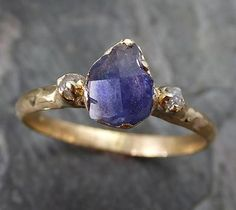 Raw Sapphire Diamond 14k Gold Engagement Ring Wedding Ring Custom One Of a Kind Violet Gemstone Ring Three stone Ring