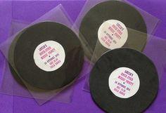 Inviti per la festa di Compleanno a tema Rock - Rock star Music party - vinili - CD - handmade e riciclo