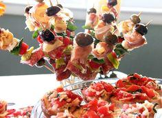 Antipasto Skewers & Fresh Bruschetta! Great finger foods for my wine tasting themed bridal shower!
