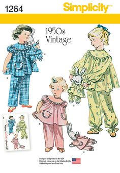 Simplicity 1264 Sewing Pattern Retro Pajamas & Stuffed Bunny with PJs Children's Size Childrens Sewing Patterns, Simplicity Sewing Patterns, Sewing For Kids, Vintage Sewing Patterns, Baby Sewing, Childrens Pyjamas, Pajama Pattern, Girls Pajamas, Vintage Children