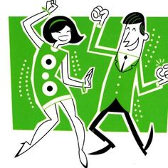 Doin the zombie Dance Vintage Illustration Art, People Illustration, Illustrations, Retro Kunst, Retro Art, Vintage Art, Mid Century Modern Art, Mid Century Art, 60s Cartoons