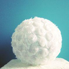 Netting fabric w rosettes + Chinese Lantern + Glue = FABULOUS Lamp Shade!!