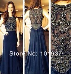 2014 Long Prom Dress Dark Blue High Collar Beads Crystal Floor Length Chiffon Evening Gowns New Arrival