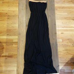 Daytrip Maxi Dress Black maxi dress with orange trim detail at the top. Cinched mid-waist. Strapless. Daytrip Dresses Maxi