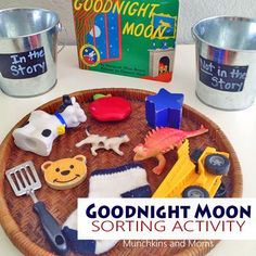 A great sorting activity to pair with Margaret Wise Brown& popular bedtime story, Goodnight Moon! Moon Activities, Autism Activities, Sorting Activities, Preschool Activities, Preschool Books, Preschool Crafts, Goodnight Moon Book, Reading Buddies, Starting A Daycare
