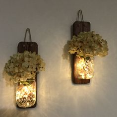 Rustic Mason Jar Wall Sconce Country Decor Set of Two