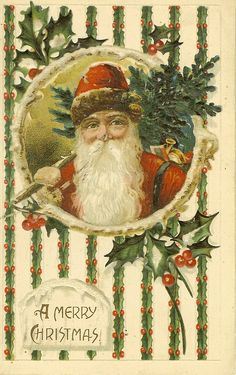 Father Christmas carried evergreen - ivy - holly