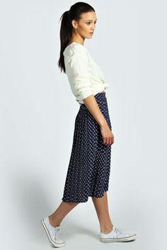 Lisa Woven Polka Dot Print Pleated Midi Skirt at boohoo.com