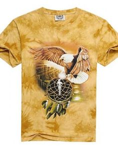 2017 Short Sleeve Full Print Fashion Men T-shirt Cotton O-neck Animal Man Tees Eagle Summer Casual Funny Personalized Yellow Ties, Tie Dye T Shirts, Sleeve Designs, Tie Dyed, Fashion Prints, Mens Tees, Cotton Fabric, Eagle, Plus Size
