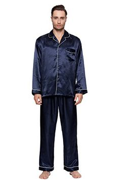 Men's Classic Satin Pajama Set - Long Pjs  Navy Slide into style and comfort with this premium 100% satin pajama set from Wind Field Wash in cool water with like colors. Dry on low heat only Offering a notched collar and button front with contrast trim piping for added appeal The long sleeved shirt is classic in style Sleep pants come with an elastic waist Button closure for maximum comfort while sleeping or lounging   Price:$27.99