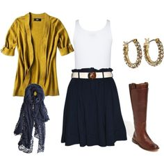 clothing ideas, outfits, yellow, cardigan, dress, boots, scarf, accessories, love