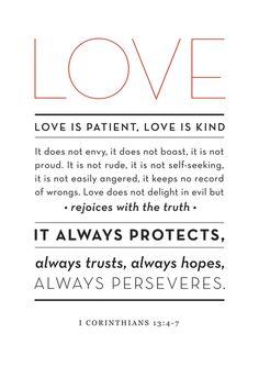 LOVE is patient, love is kind ... ~ 1 Corinthians 13:4-7