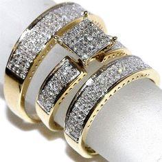 Yellow Gold Finish Diamond Engagement Wedding Ring Trio Ring Set His Hers Trio Wedding Sets, Wedding Rings Sets Gold, Diamond Wedding Rings, Bridal Rings, Wedding Ring Bands, Diamond Engagement Rings, Wedding Jewelry, Engagement Wedding Ring Sets, Engagement Ring Settings