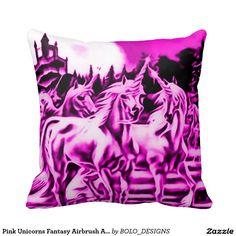 Pink Unicorns Fantasy Airbrush Art Throw Pillow
