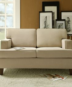 Look at this Beige Track Arm Modern Love Seat on #zulily today!