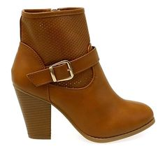 Women's Perforated Style Buckle Strap Chunky Heel Ankle Booties