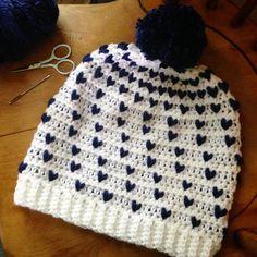 Falling Hearts Beanie By Chanda Hawkins - Free Crochet Pattern - (ravelry) #CrochetBeanie