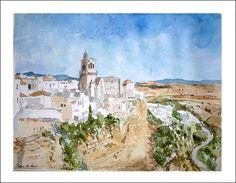 Acuarela de uno de los pueblos blancos de la provincia de Cádiz con más fama. Se trata de Arcos de la Frontera.  Rubén de Luis - www.rubendeluis.com  contacto: ruben@rubendeluis.com