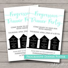 Progressive Dinner Party Poster Announcement by IttyBittyPixel