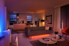 Philips expands the Hue smart lighting system with the LivingColors Bloom and LightStrips, both of which add to existing systems in interesting ways. Home Room Design, House Design, Phillips Hue Lighting, Cast Iron Kitchen Sinks, Open Plan Apartment, Neon Light, Luz Led, Strip Lighting, Led Lamp