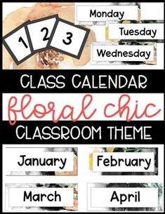 Floral Chic Black and White Ombre Theme Calendar This Calendar is perfect for your floral or black and white theme classroom! Included in this product: Month Labels Week Labels Numbers Birthday & Holiday Markers Vintage Classroom Decor, Classroom Decor Themes, Classroom Ideas, Back To School Organization, Classroom Organization, Classroom Management, Reading Comprehension Activities, Writing Activities, Month Labels