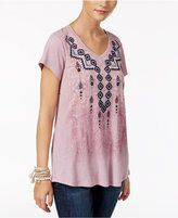 FStyle & Co Embroidered Graphic-Print Top, Only at Macy's