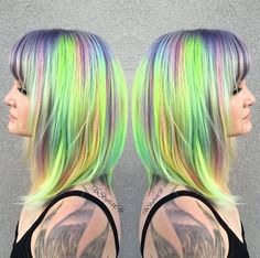 40 Picture-Perfect Hairstyles for Long Thin Hair multi-colored lob hairstyle Lob Hairstyle, Hairstyles With Bangs, Trendy Hairstyles, Color Fantasia, Long Thin Hair, Neon Hair, Rainbow Hair, Hair A, Fine Hair